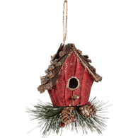 Birdhouse with Pine Ornament (e.a)  - Urbery