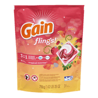 Gain Flings! Laundry Detergent Pacs, Tropical (31ea)  - Urbery