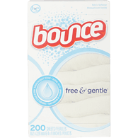 Bounce Dryer Sheets, Free and Gentle (200ea)  - Urbery
