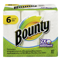 Bounty Full Sheet Paper Towels 2X Absorbent (6 Rolls)