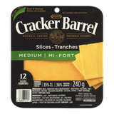 Kraft Cracker Barrel Cheese Slices Medium Cheddar (240g)