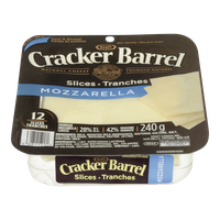 Kraft Cracker Barrel Cheese Slices Mozzarella (240g)