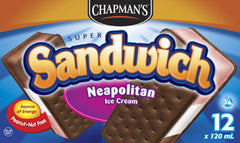 Chapman's Super Sandwich Ice Cream Neapolitan (12 X 120 ml)