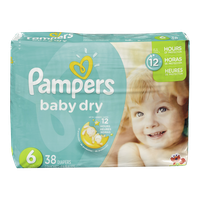 Pampers Diapers Baby Dry, Mega Pack 6 (38 per pack)