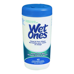 Wet Ones Hand & Face Wipes With Vitamin E & Aloe (40 Thick Moist Wipes)