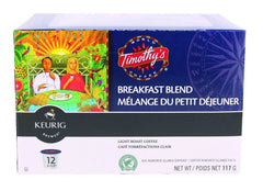 Keurig K-Cup Timothy's Breakfast Blend Light Roast Coffee (117g)