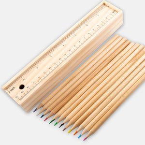 10Pcs Of Wooden Coloring Set with Ruler