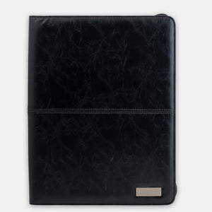 A4 Black leather folder with zipper