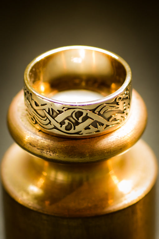 celtic dogs gold ring