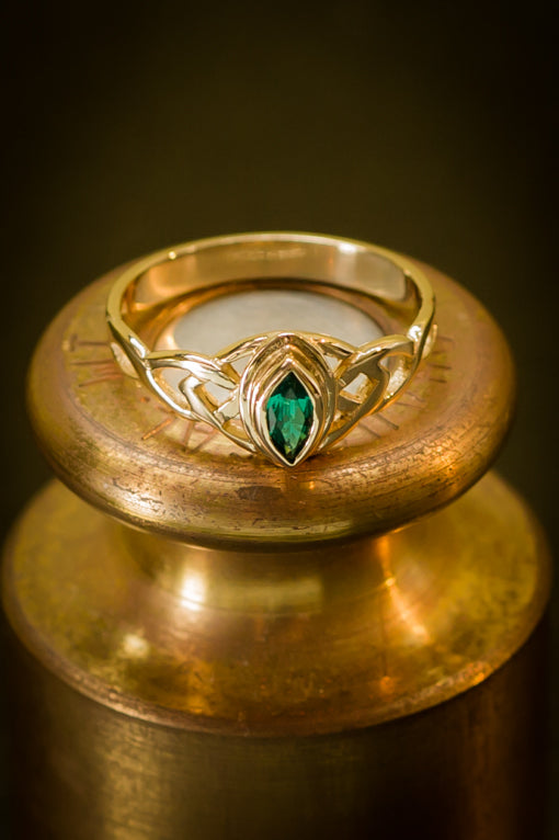 Cultured Emerald Marquis Ring