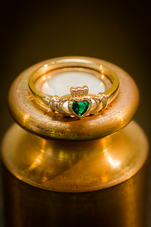 claddagh ring with heart emerald