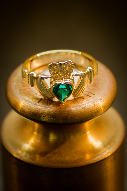 Cultured Emerald Set Claddagh Ring