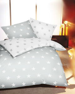 Mako Satin Bettwäsche ESSENTIAL STARS schiefer grau