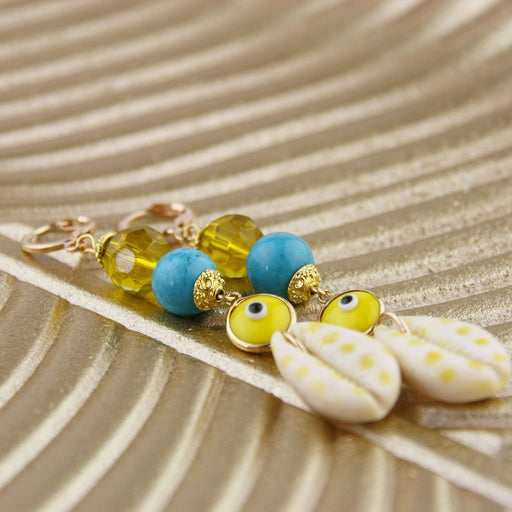 Oorbellen Cowrie Yellow Dots
