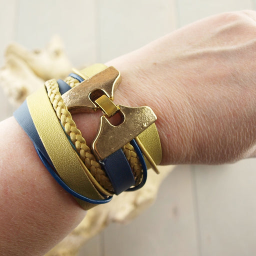 Leren Armband Wrap Blue Braid