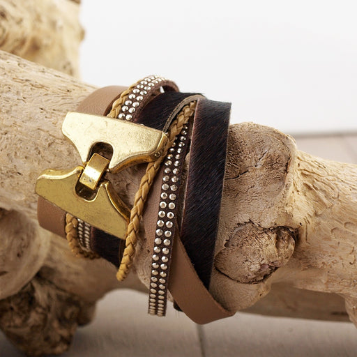 Leren Armband Wrap Chocolate Spikes