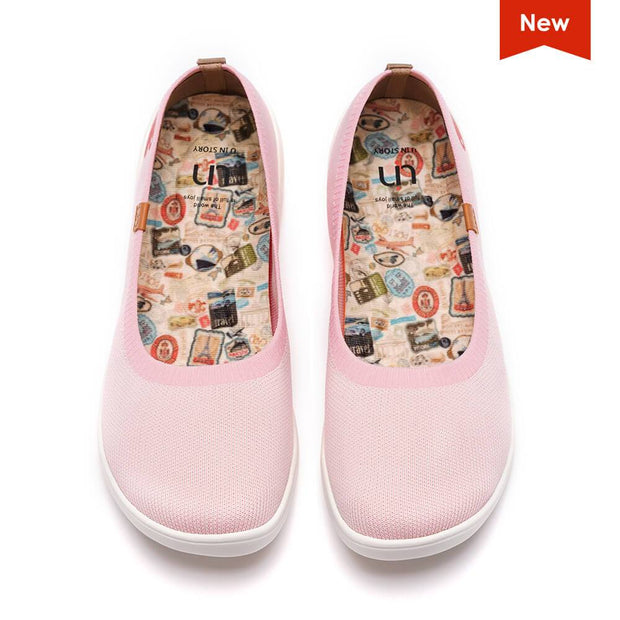 UIN Footwear Kid Valencia Knitted Pink Kid Canvas loafers