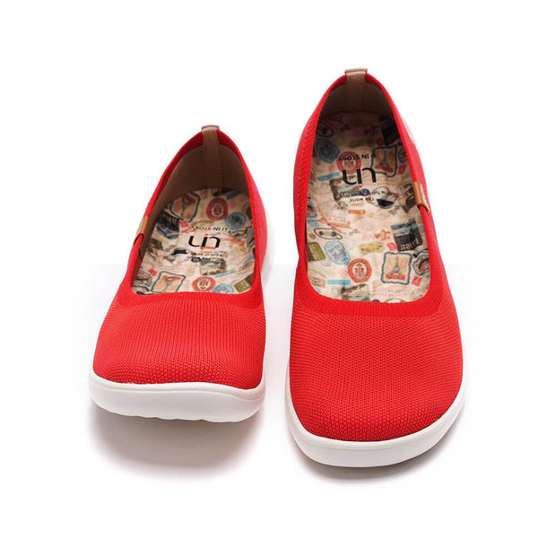 UIN Footwear Kid Valencia Knitted Red Kid Canvas loafers