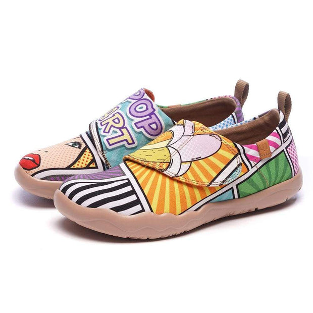 UIN Footwear -Pop Art- Trendy Cartoon Design Painted Kids Shoes Canvas loafers