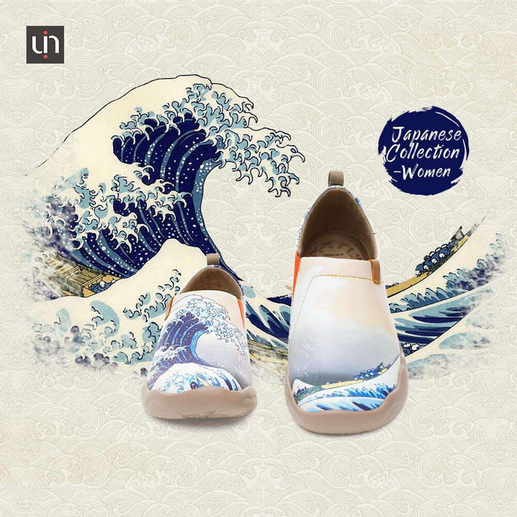 UIN Footwear Women -Great Wave off Kanagawa- Art Painted Women Fashion Flat Shoes Canvas loafers