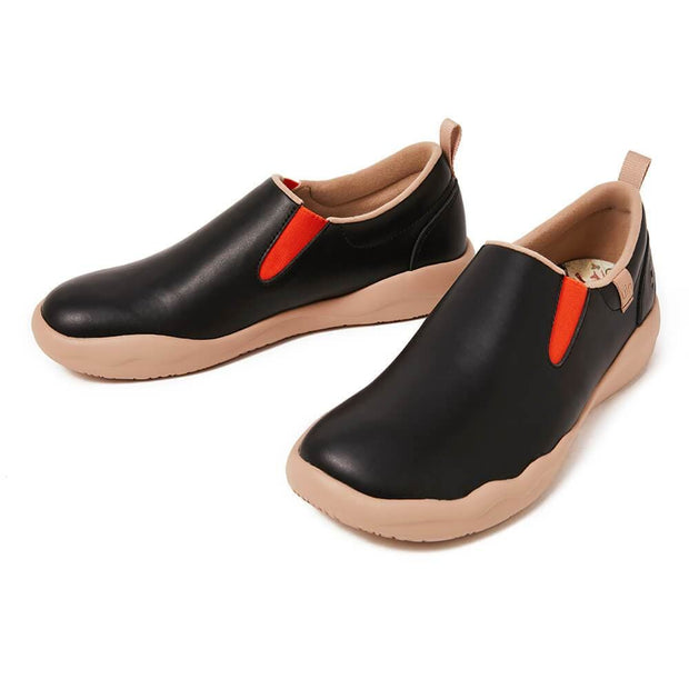 UIN Footwear Women (Pre-sale) Cuenca Black Split Leather Women Canvas loafers