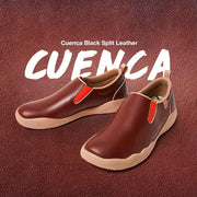 UIN Footwear Women (Pre-sale) Cuenca Burgundy Split Leather Women Canvas loafers