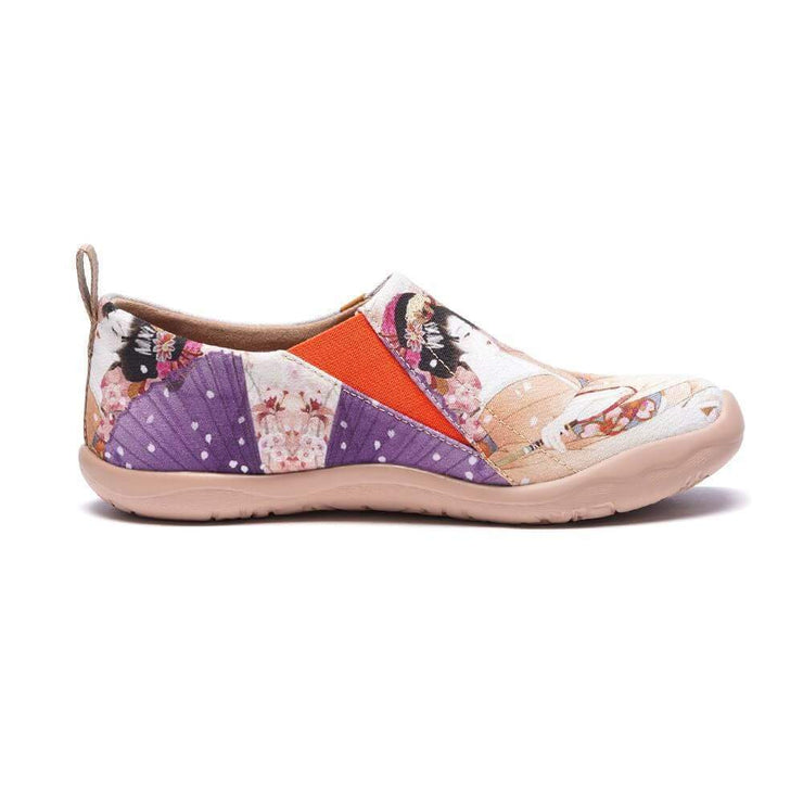 UIN Footwear Women -Under the Cheery Tree- Women Painted Slip-on Casual Shoes Canvas loafers
