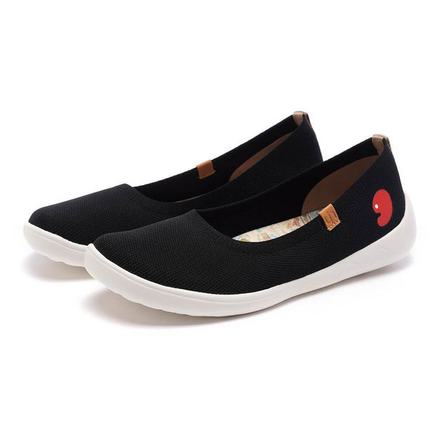 UIN Footwear Women Valencia Knitted Black Canvas loafers