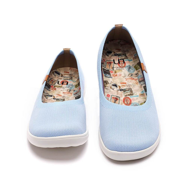 UIN Footwear Women Valencia Knitted Light Blue Canvas loafers