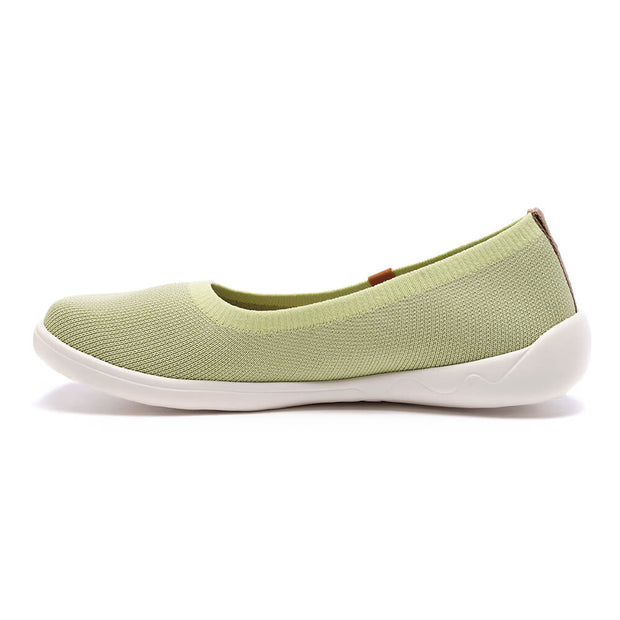 UIN Footwear Women Valencia Knitted Light Green Canvas loafers