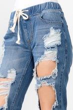 Load image into Gallery viewer, Bazi Distressed Denim Joggers/ Blue