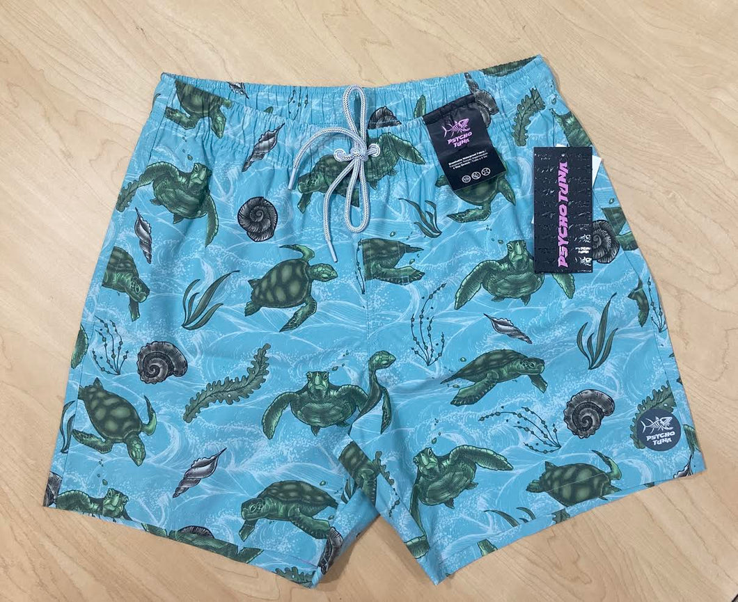 Psycho Tuna Swim Shorts - Sea Turtles