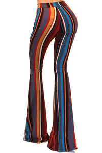 Multi Colored  Striped  Bell Bottom