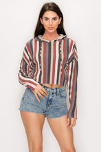 Load image into Gallery viewer, Bear Dance Striped Crop Hoodie