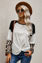 Load image into Gallery viewer, Leopard Long Sleeve Waffle Knit White Blouse