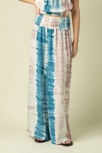 Ocean Drive Cotton Candy Stripe Tie Dye Printed Wide Leg Pant