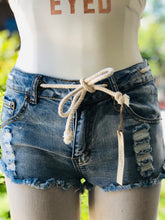 Load image into Gallery viewer, Ocean Drive Medium Wash Denim W/Ivory Rope Basic Ripped Shorts With Rope Detail