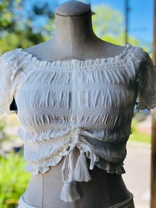 Ocean Drive Summer White Solid Rouched Front Short Sleeve Top