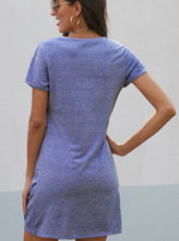 Load image into Gallery viewer, Side knot blue t-shirt dress