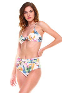 Envya Tie Knots Front High Waist Bikini Set-White Floral