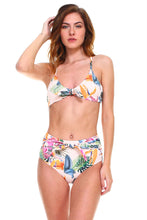 Load image into Gallery viewer, Envya Tie Knots Front High Waist Bikini Set-White Floral