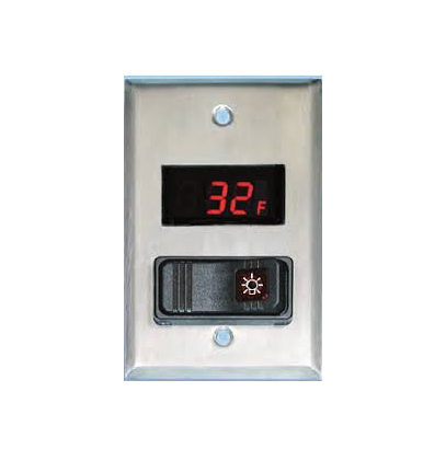 Walk-In Cooler/Freezer Combination Light Switch & Digital Thermometer  - 24DT-L-4F0