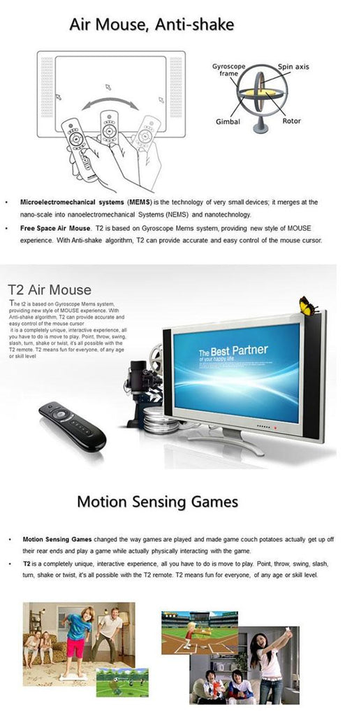 Mini Fly T2 Air Mouse 2 4G Wireless Keyboard Mouse For Android TV Box  remote control 3D Sense Motion Media Player