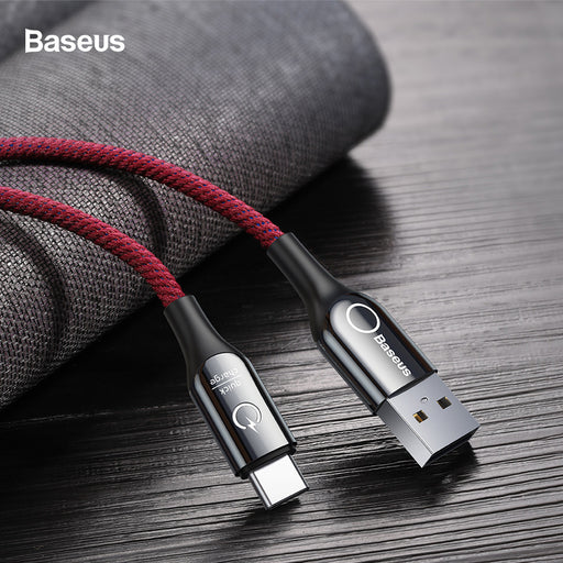 Ready Stock Singapore Baseus C-Shaped Light Intelligent Power-Off Cable 1M