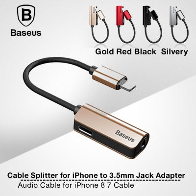 Baseus Audio Cable for iPhone 8 7 Cable Splitter for iPhone to 3.5mm Jack Adapter for iPhone Aux Cab