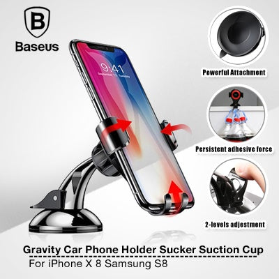 Baseus Universal Gravity Car Phone Holder Sucker Suction Cup Mount Holder For iPhone X 8 Samsung S8