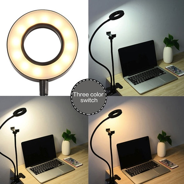 Universal Selfie LED Ring Light with Flexible Mobile Phone Holder Lazy Bracket
