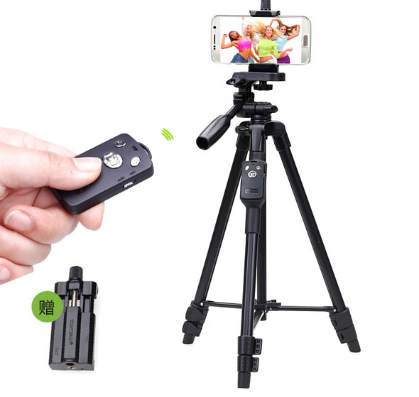 YUNTENG 5208 Aluminum Tripod with 3-Way Head & Bluetooth Remote + clip for Camera