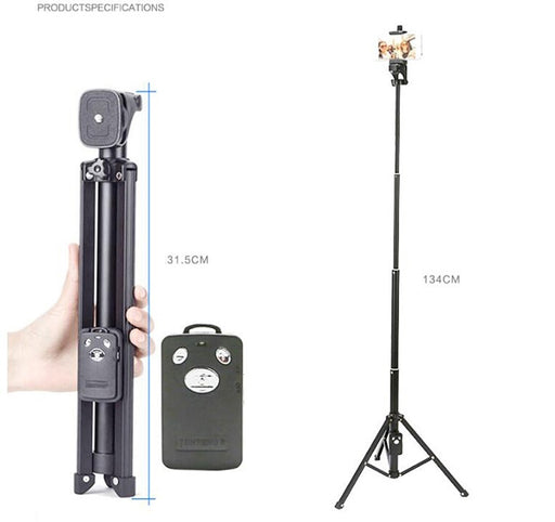 For iPhone Sumsang Phone Camera DV Yunteng 1688 Handheld Mini Tripod Self-portrait Monopod Selfie Stick Bluetooth SelfTimer Pole