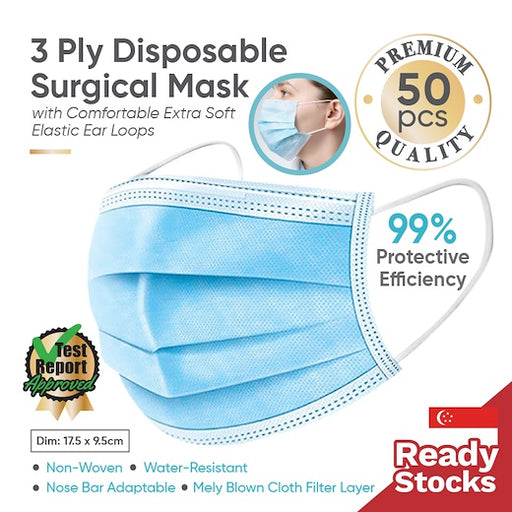 3 PLY DISPOSABLE SURGICAL MASK - 50PCS -PREMIUM QUALITY- NON WOVEN - WATER RESISTANT